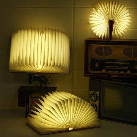 Foldable Wooden Book Light | Art Led Book Lamp Light USB Rechargeable - HahaGet