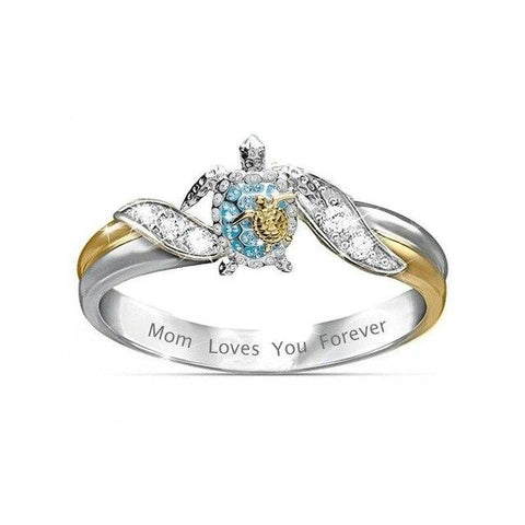 Mom Loves You Forever Sea Turtle Ring - HahaGet