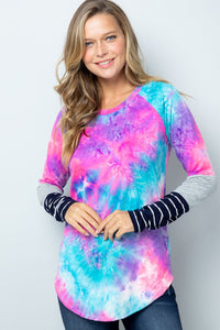 Tie Dye Color Block Sleeve Top
