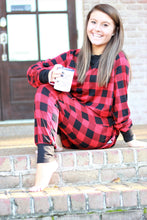 Load image into Gallery viewer, Red and Black Buffalo Plaid Lounge Set