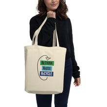 "Load image into Gallery viewer, Eco Tote Bag ""The Tracey E"" - Rethink reuse recycle sans serif"