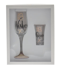18 Wishes Flute and Shot Glass