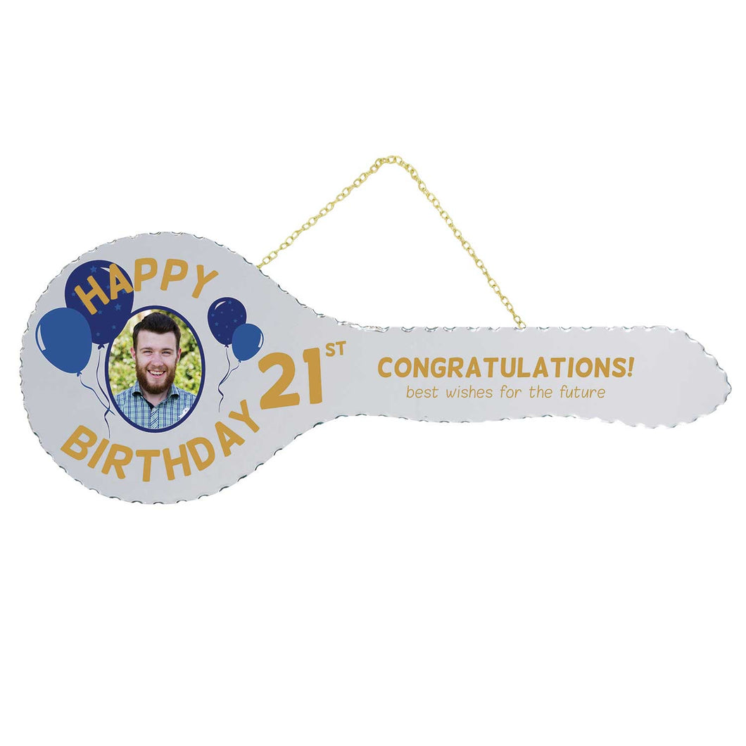 Mirrored 21st Key - Happy Birthday Balloons
