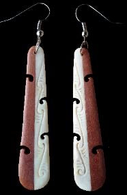 Carved Wooden and Bone Earrings