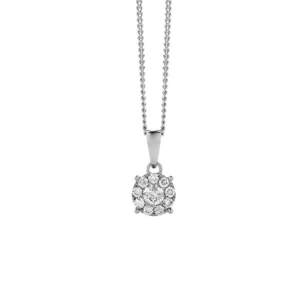 Round Cluster Diamond Pendant + Chain (white gold)