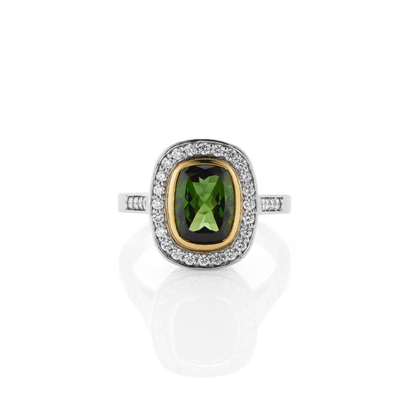 Tourmaline & Diamond Ring (white / yellow gold)