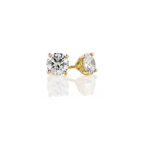 Diamond Earring Studs - 1.60 ct (yellow gold)
