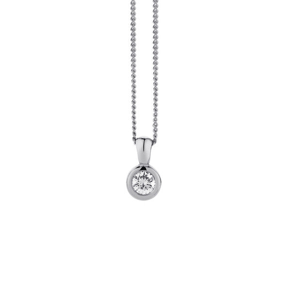 Rub Over Diamond Pendant & Chain (9ct White Gold, 0.20ct G-H SI Ex-VG, Chain - 9ct White Gold, 45cm)