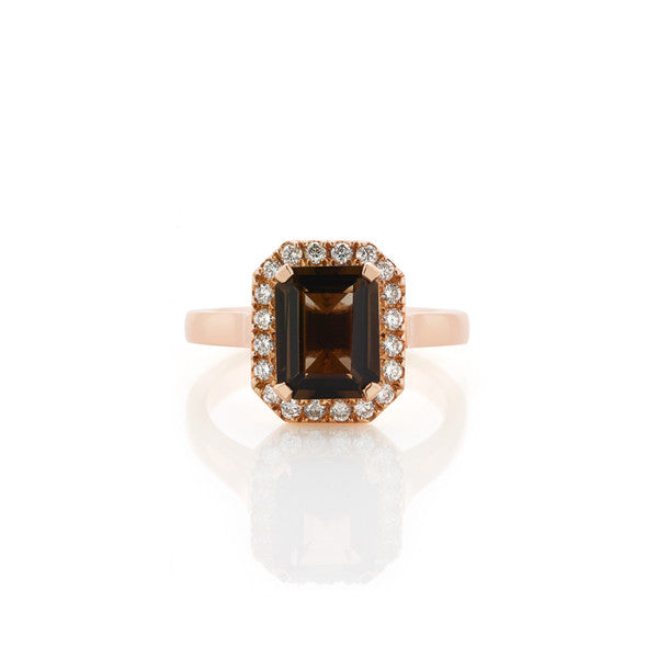 Smokey Quartz & Diamond Ring (rose gold)
