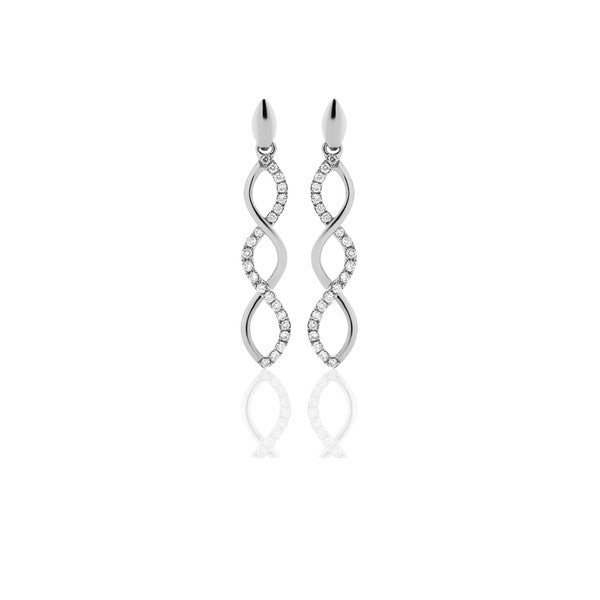Diamond Infinity Earrings - 9ct White Gold (0.18ct TDW, G-H SI2-I1 Ex-Vg)