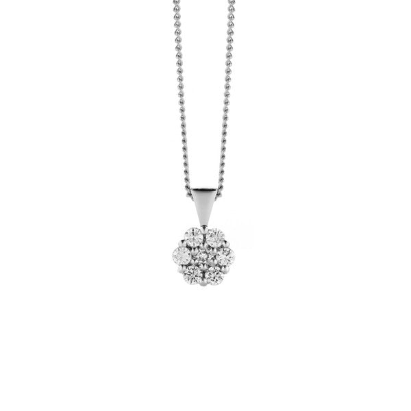 Flower Diamond Pendant + Chain (white gold)