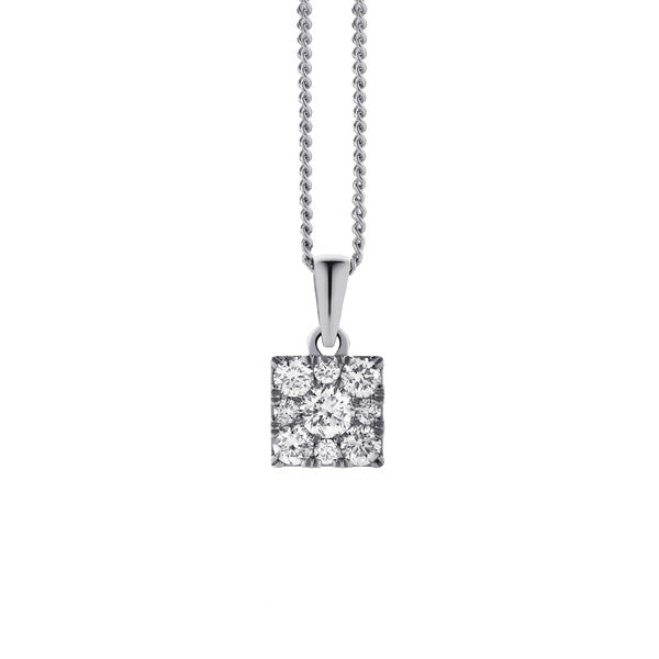 Square Cluster Diamond Pendant & Chain (9ct White Gold, 0.33ct TDW G-H SI-I1, Chain - 9ct White Gold, 45cm)