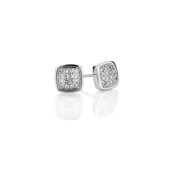 Diamond Cluster Earrings - 9ct White Gold (0.10ct TDW G-H SI-I1)