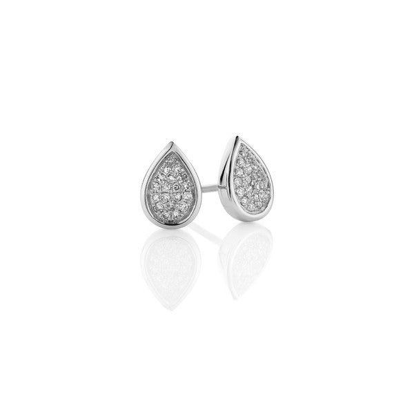 Pear Diamond Cluster Earrings (white gold)