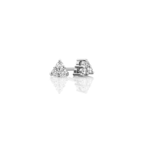 Three Stone Diamond Earrings (white gold)