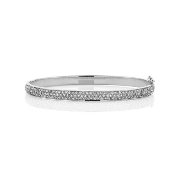 Pave Set Diamond Bangle (white gold)