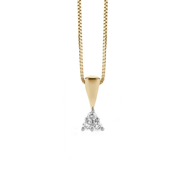 Three Stone Diamond Pendant + Chain (yellow gold)