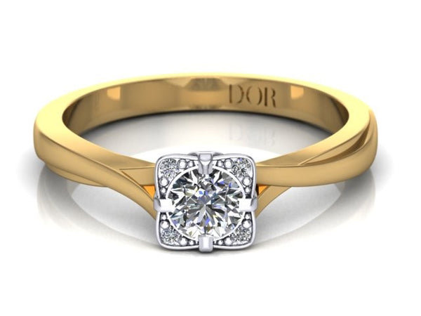 Round Brilliant Diamond Ring - 9ct White / Yellow Gold (0.26cts TDW, G-H, SI-I1)