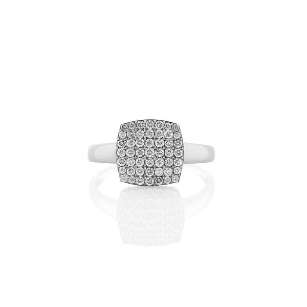Diamond Square Cluster Ring (white gold)