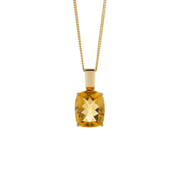 Citrine Pendant + Chain (yellow gold)
