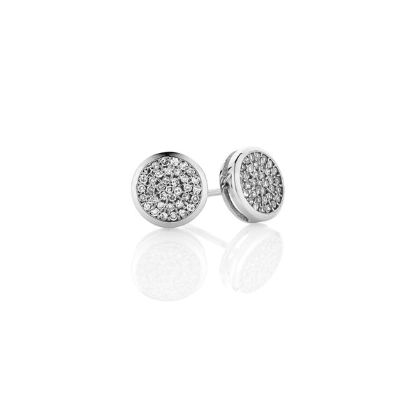 Diamond Round Cluster Earrings - 9ct White Gold (0.17ct TDW G-H SI-I1)