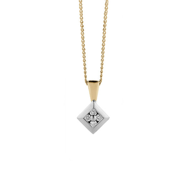 Square Rub Over Diamond Pendant + Chain (yellow/white gold)