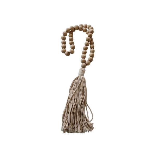 Natural Wooden Decorative Beads with Tassel