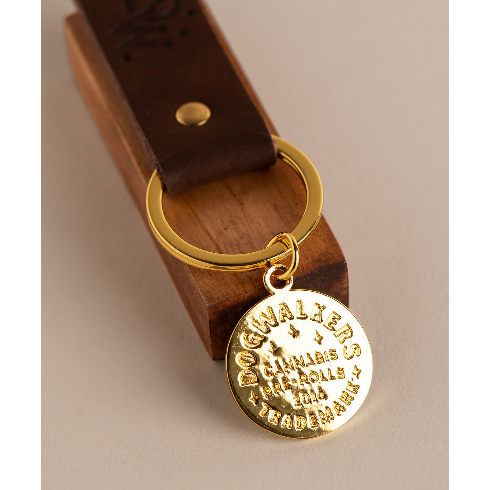 Dogwalkers Stamped Leather Key Chain