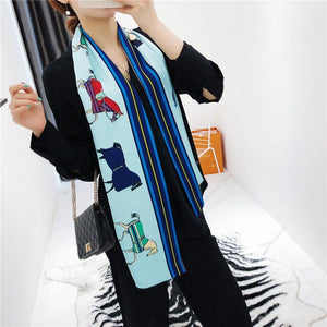Long Satin Scarf Double Sided