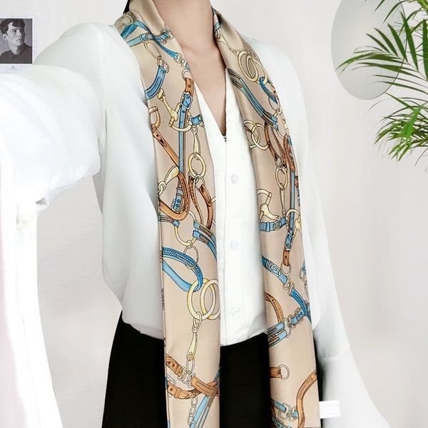 Silk Long Scarves Double Print