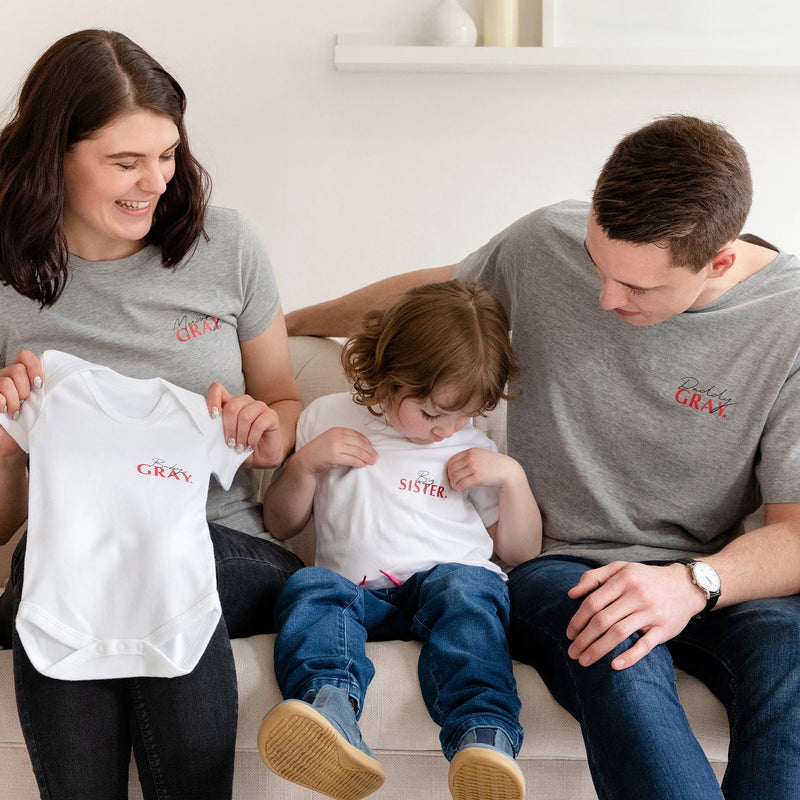 New Baby Announcement Family And Sibling Shirt Set