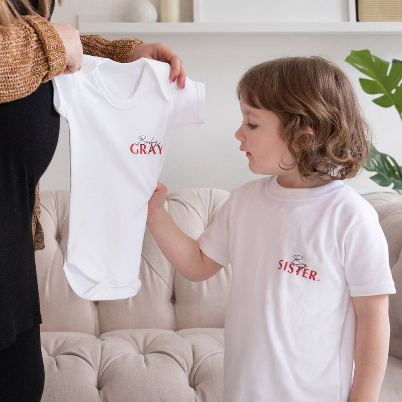 Baby Announcement Bodysuit And Matching Sibling T Shirt