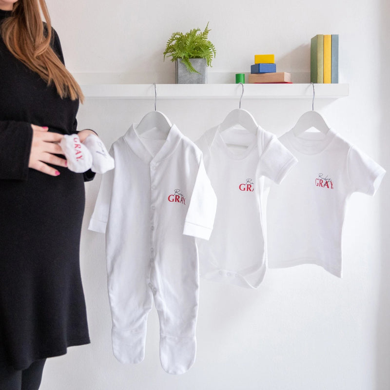 Baby's Personalised First Year Clothing Milestone Set