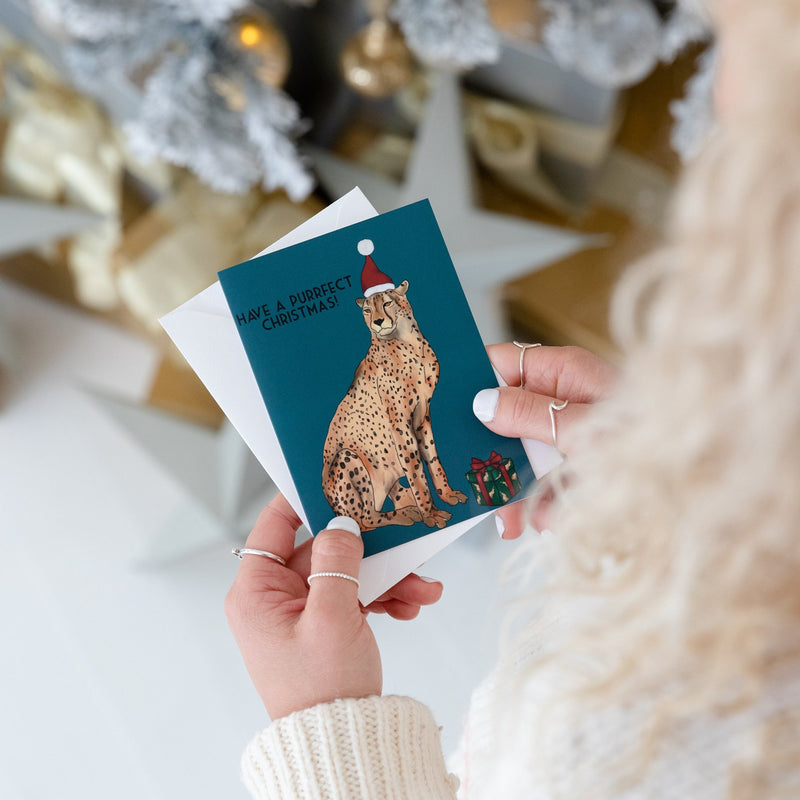 Have A Perfect Christmas Cheetah Card