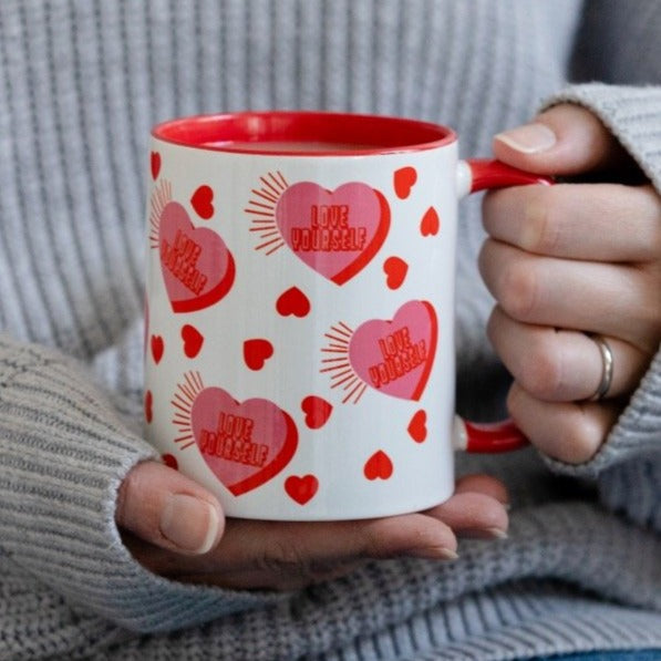 Love Yourself Retro Hearts Mug