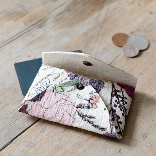 Piñatex Floral Print Card Holder