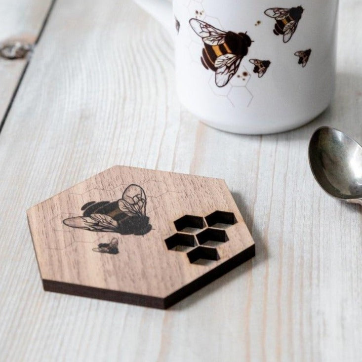 Honeycomb And Bee Walnut Coaster