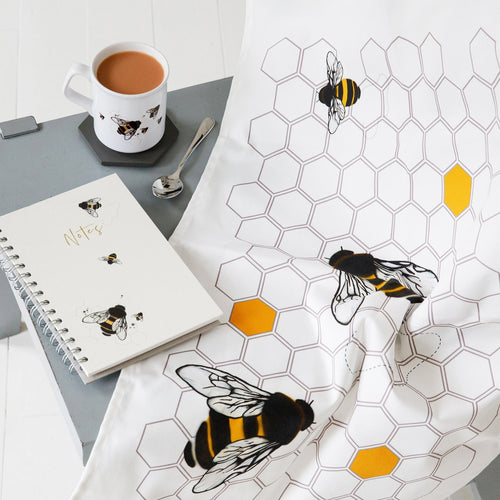 Bee Mug, Notebook And Tea Towel Matching Set