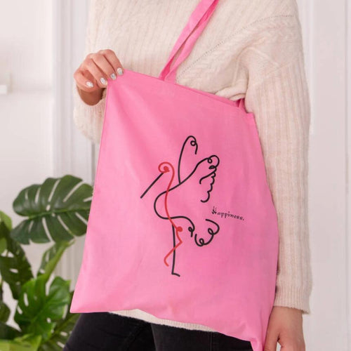 Crane Line Drawing 'Happiness' Tote Bag