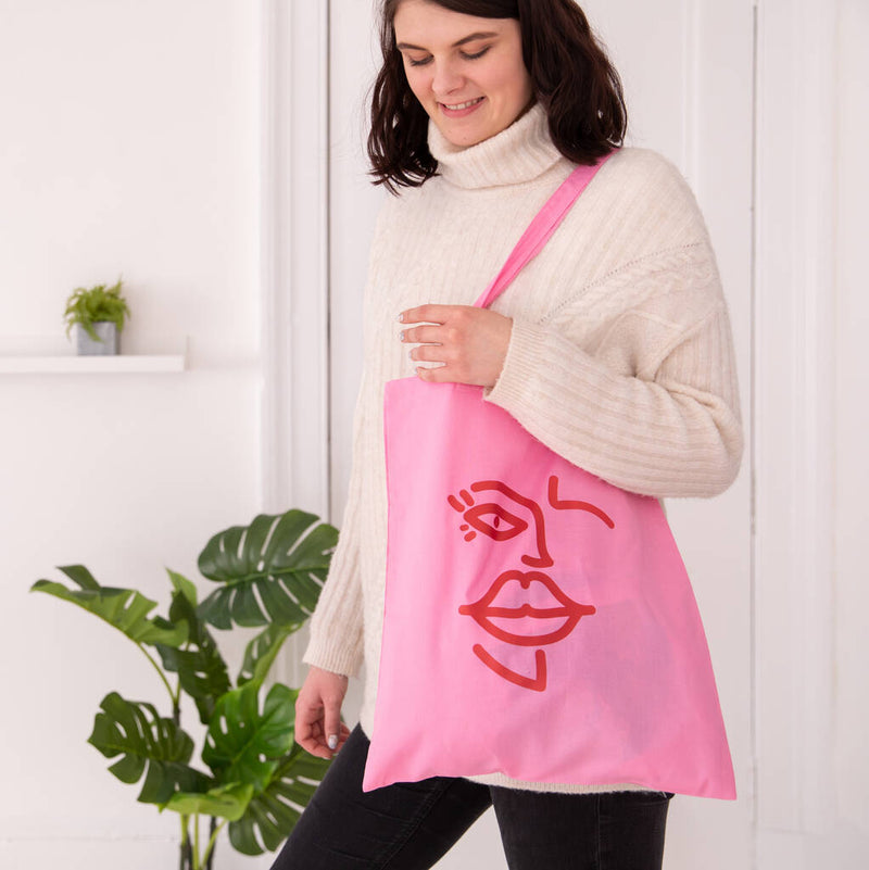Face Line Drawing Tote Bag