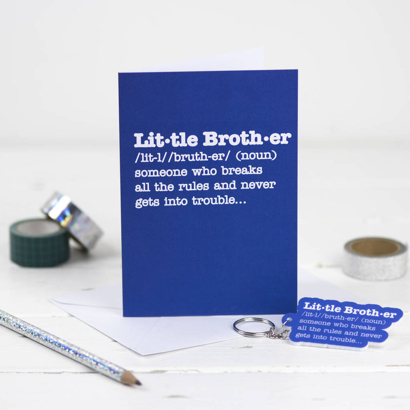 Little Brother Definition Card With Matching Keyring