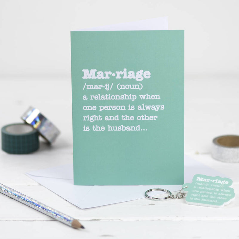 Marriage Definition Card With Matching Keyring