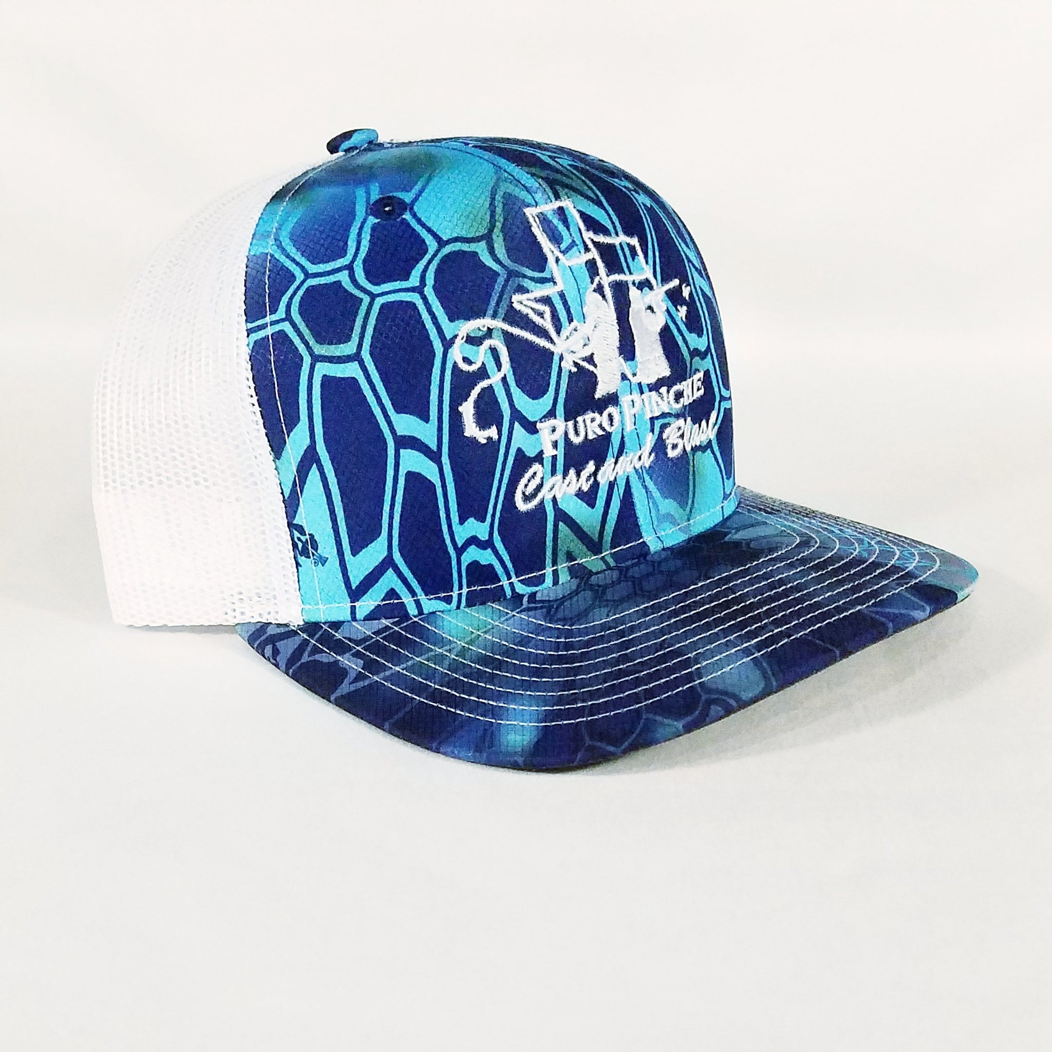 Aquatic Kryptec Camo/White Mesh Snap Back - PuroPincheCast&Blast Outfitters