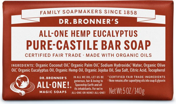 Dr Bronner's All-One Hemp PURE Castile Bar Soap - Eucalyptus