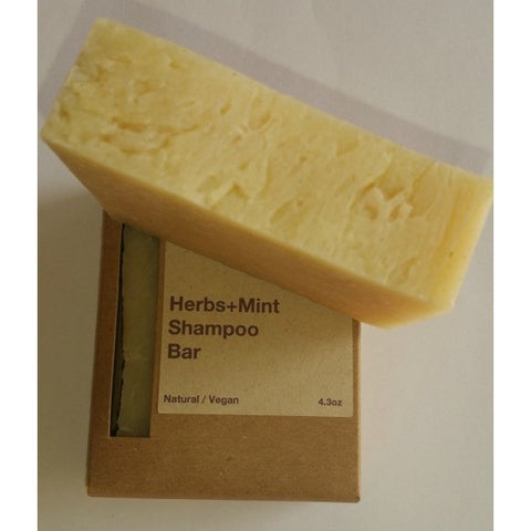 Hattache Natural Soap - Herbs + Mint Shampoo Bar