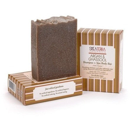 SheaTerra Organics - Argan & Ghassool Shampoo + Spa Body Bar