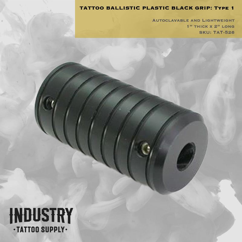 "Autoclavable & Lightweight Tattoo Ballistic Plastic Black Grip - 1"" Thick x 2"" Long - Type 1"