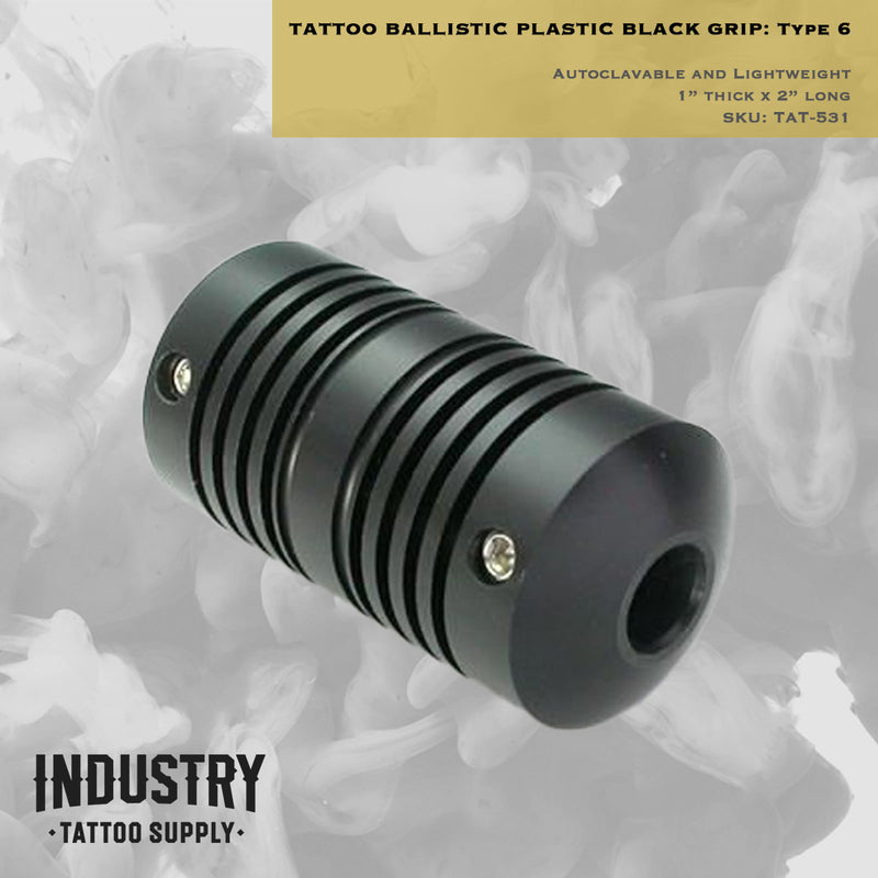 "Autoclavable & Lightweight Tattoo Ballistic Plastic Black Grip - 1"" Thick x 2"" Long - Type 6"