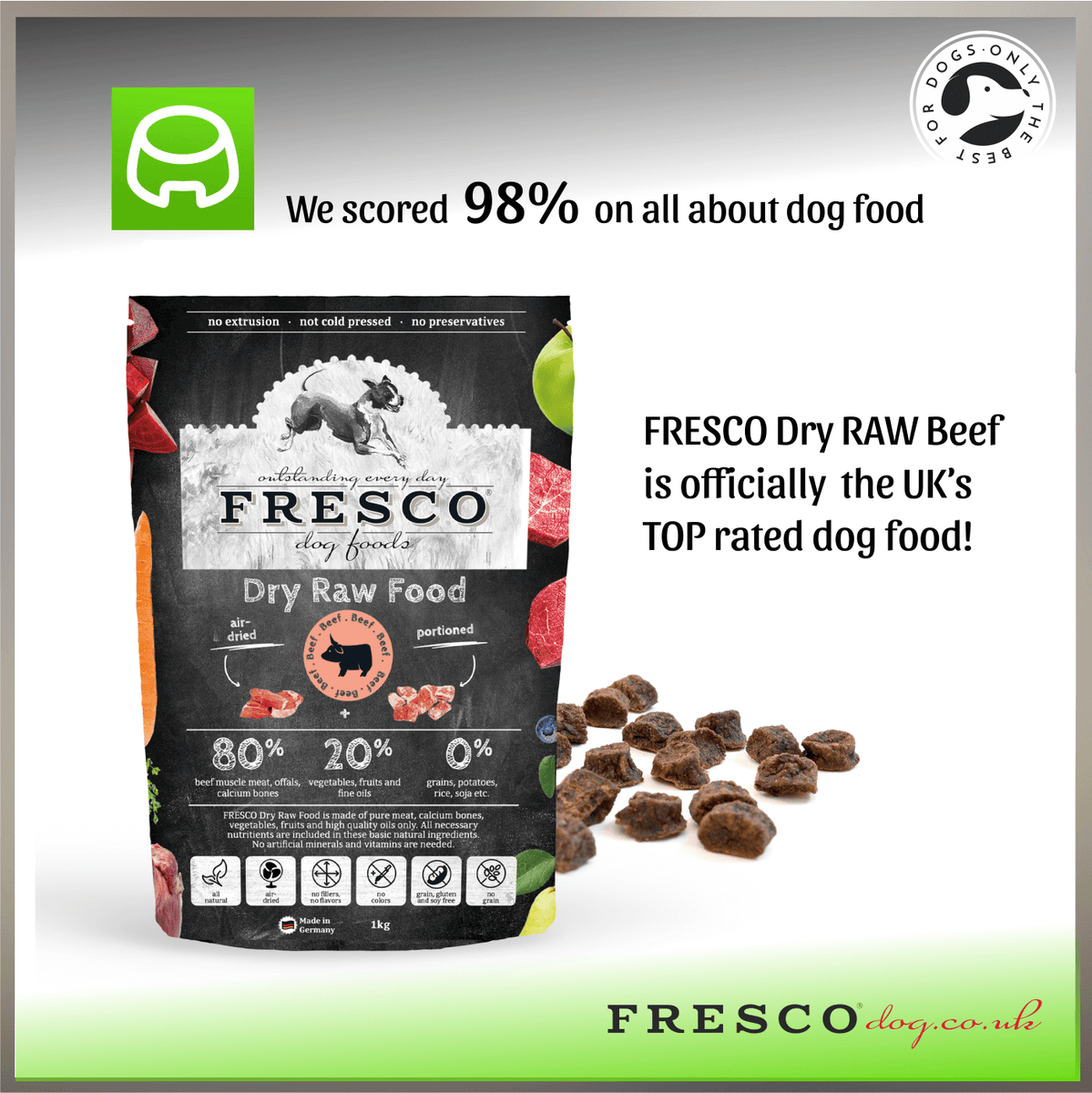 "Top Rated 98% on ""All about dog food"".....FRESCO Dry RAW really is the best"