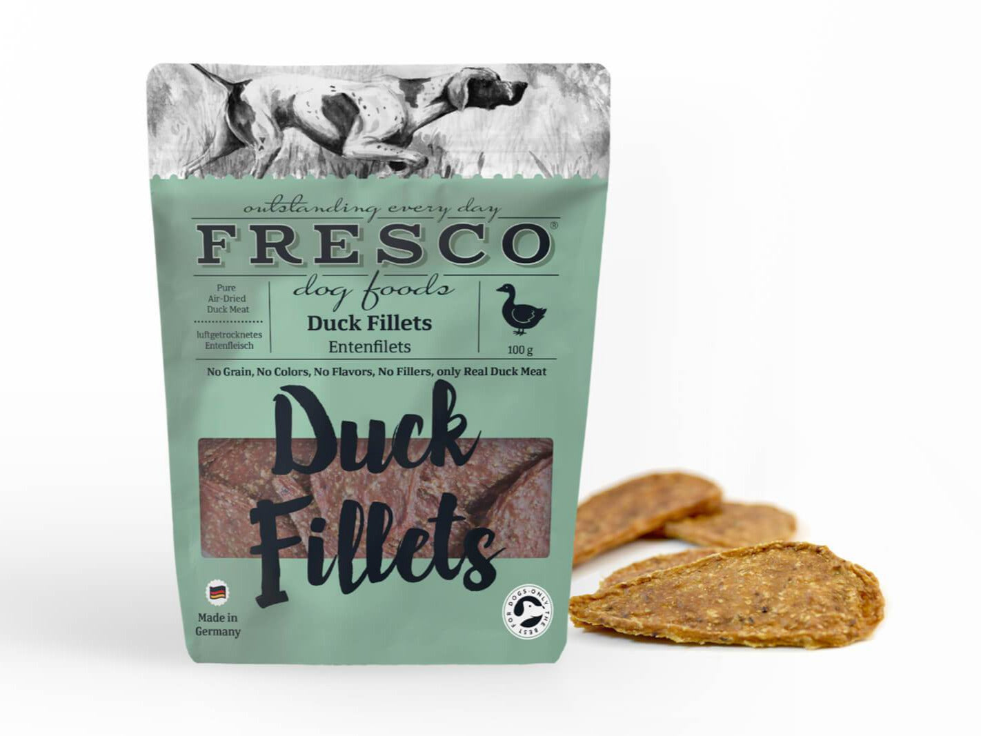 a bag of fresco duck fillets with example fillets at the side